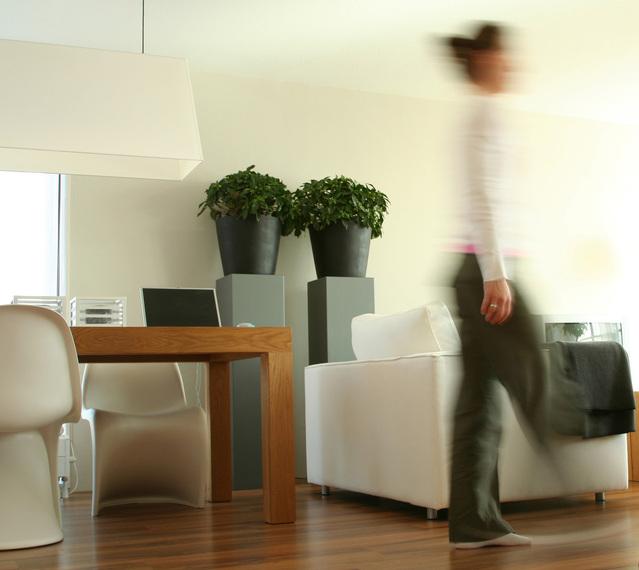 obývací pokoj s rozmazanou postavou, která odchází, stůl židle, květiny, sedací souprava